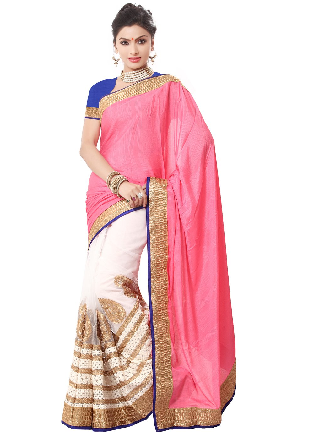 Peach Festival Georgette Contemporary Saree