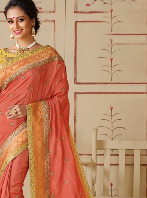 Peach Festival Silk Silk Saree