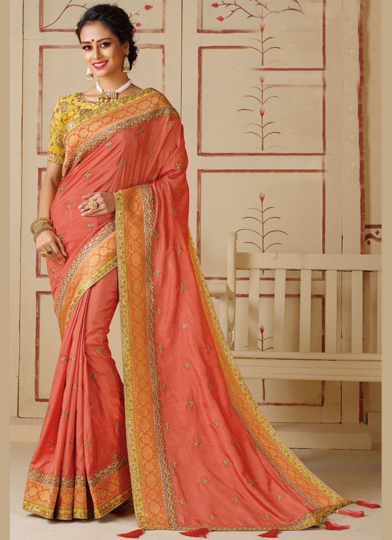 Peach Festival Silk Silk Saree