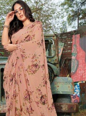 Peach Floral Print Festival Designer Saree