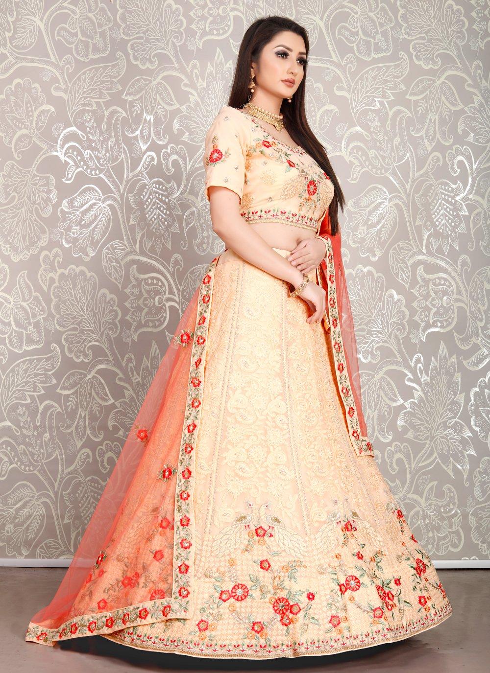 Peach Georgette Ceremonial Designer Lehenga Choli