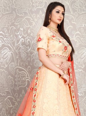 Peach Georgette Ceremonial Designer Lehenga Choli