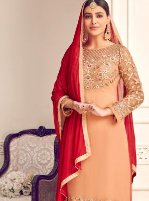 Peach Georgette Palazzo Designer Salwar Suit