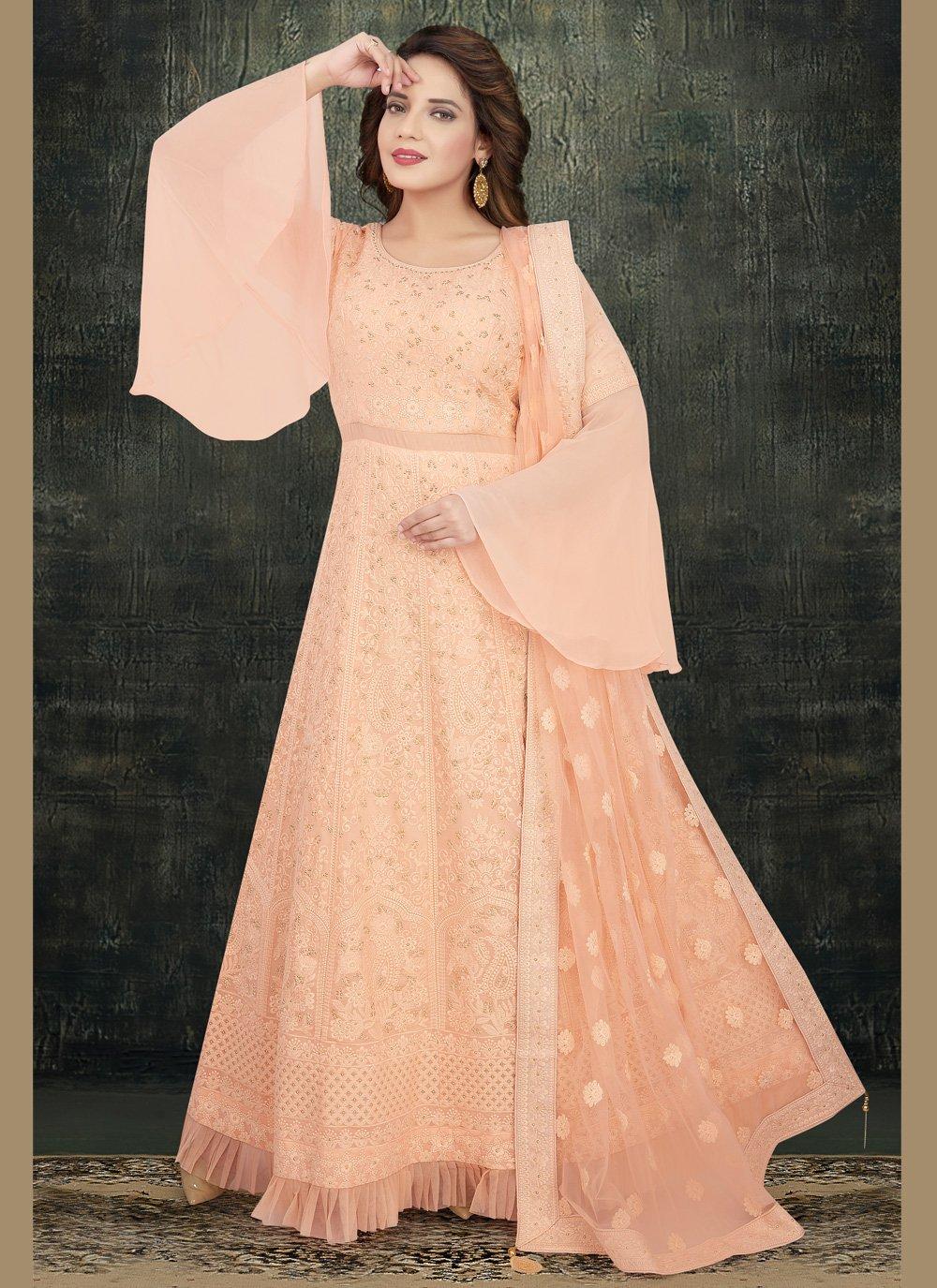 Peach Georgette Readymade Anarkali Salwar Suit