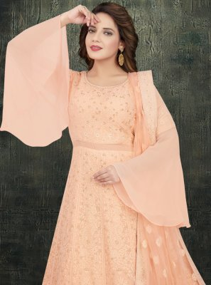 Peach Georgette Readymade Anarkali Salwar Suit
