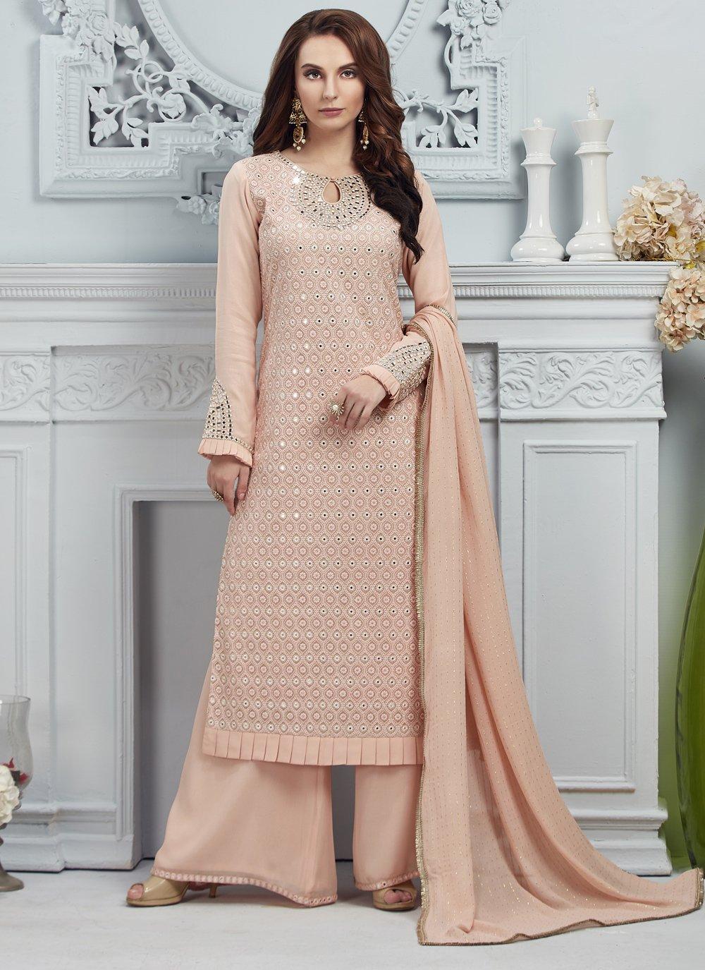 Peach Georgette Salwar Suit