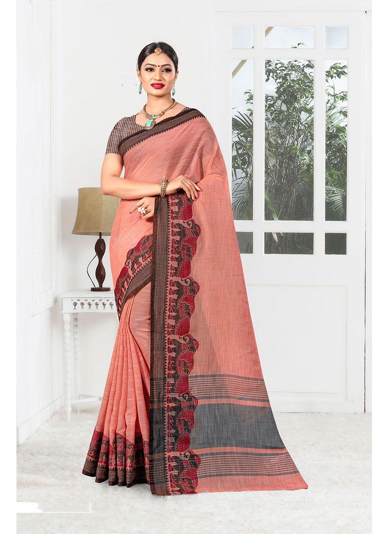 Peach Linen Designer Saree