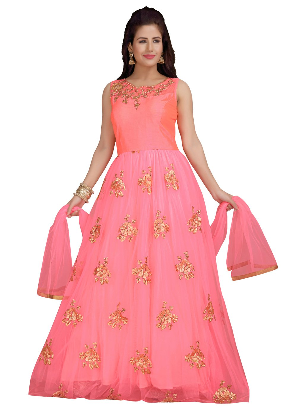 Peach Net Anarkali Salwar Suit