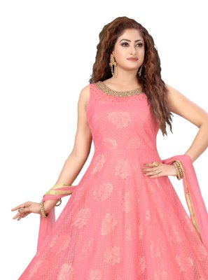 Peach Net Brasso Embroidered Designer Salwar Suit