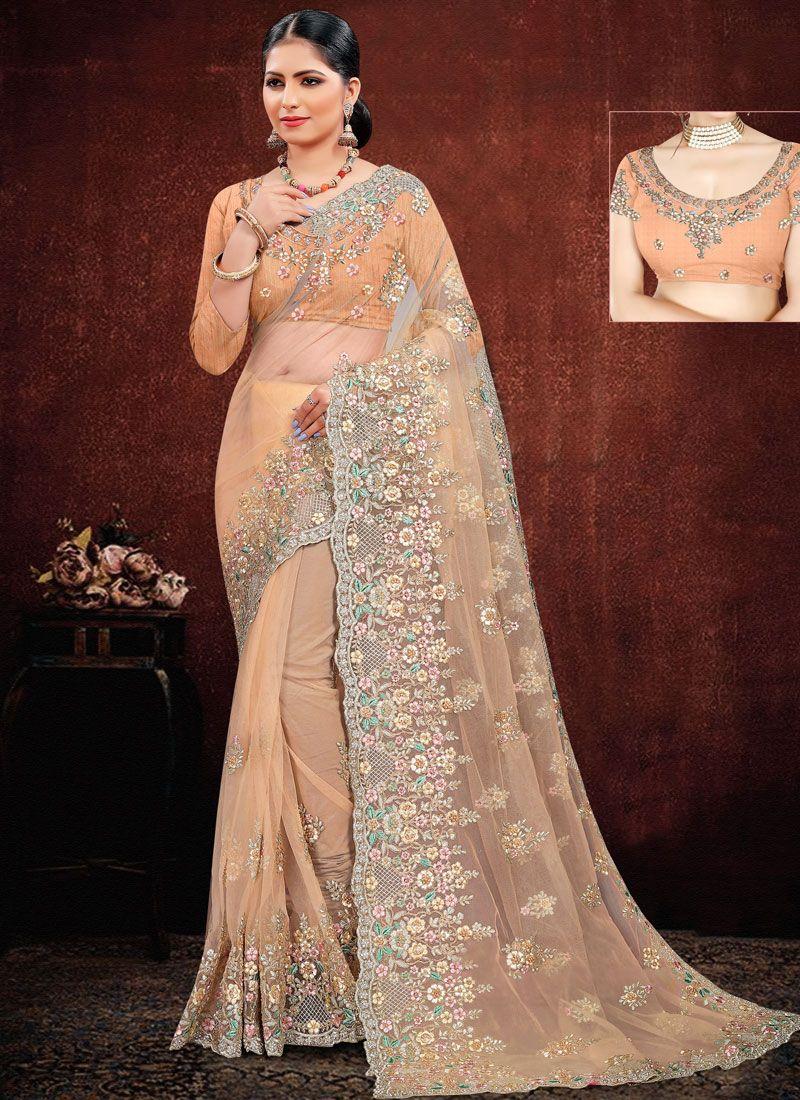 Peach Net Classic Designer Saree