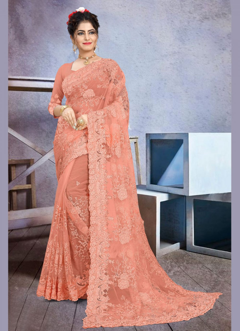 Peach Net Classic Saree