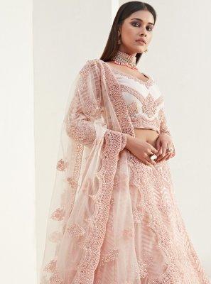 Peach Net Designer Lehenga Choli