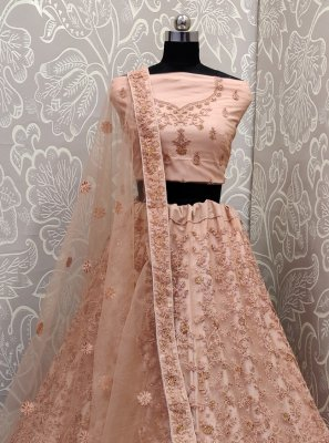 Peach Net Embroidered Lehenga Choli