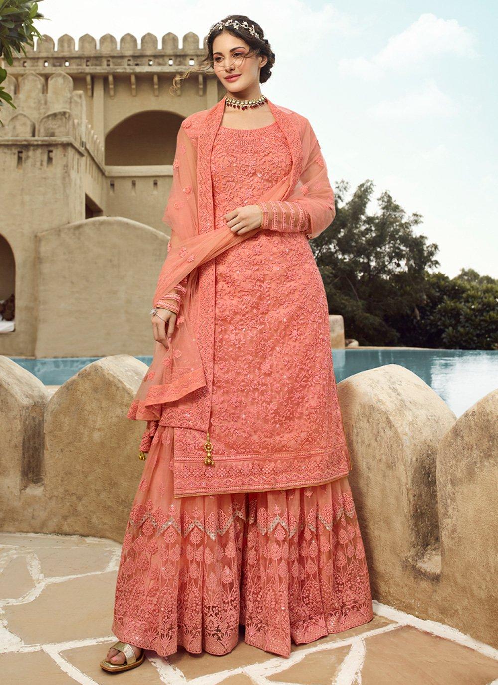 Peach Net Festival Designer Palazzo Salwar Suit