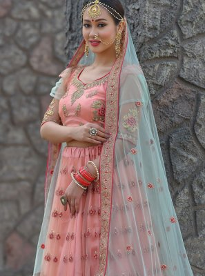 Peach Net Sangeet Designer Lehenga Choli