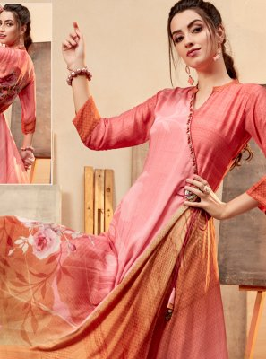 Peach Party Faux Chiffon Party Wear Kurti