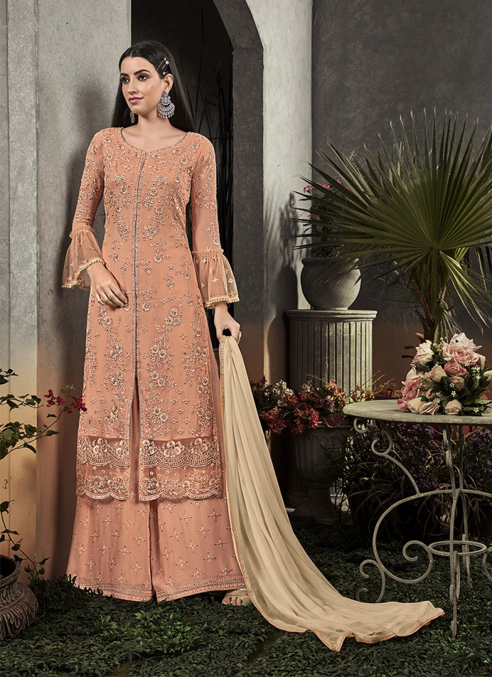 Peach Party Faux Georgette Palazzo Salwar Kameez
