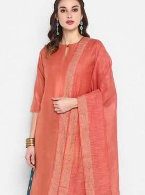 Peach Party Poly Silk Palazzo Salwar Suit