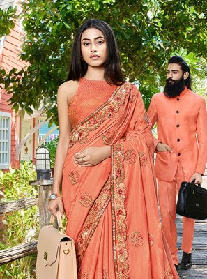 Peach Patch Border Classic Designer Saree
