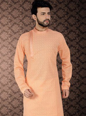 Peach Poly Cotton Embroidered Kurta Pyjama