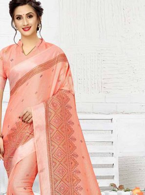Peach Print Linen Printed Saree