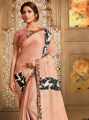 Peach Printed Casual Printed Saree