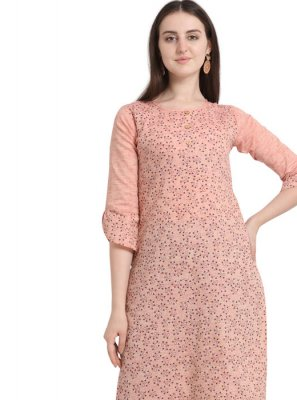 Peach Printed Cotton Casual Kurti