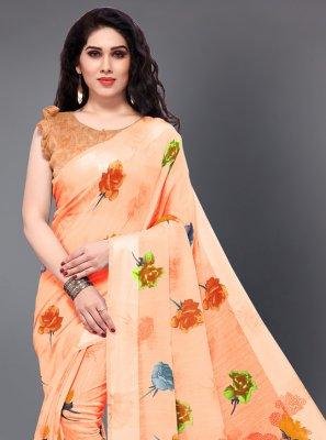 Peach Printed Cotton Classic Saree