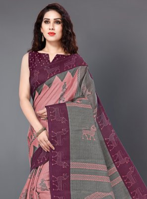 Peach Printed Silk Trendy Saree