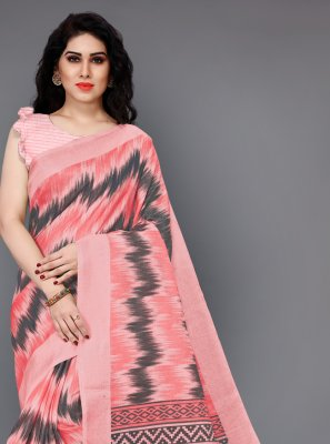 Peach Printed Trendy Saree