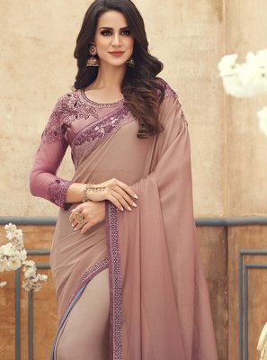 Peach Pure Chiffon Embroidered Saree