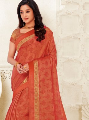 Peach Raw Silk Classic Saree