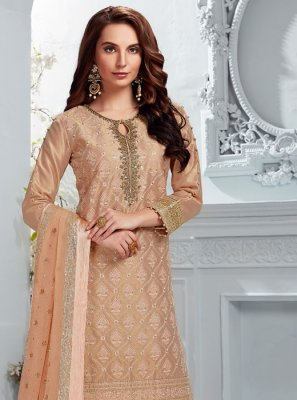 Peach Reception Chanderi Designer Salwar Kameez