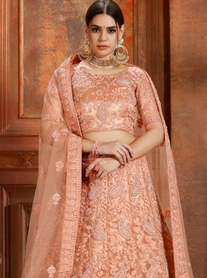 Peach Reception Designer Lehenga Choli