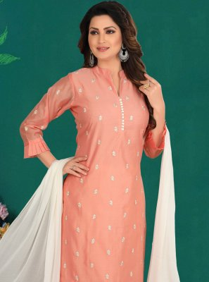Peach Reception Designer Straight Salwar Suit