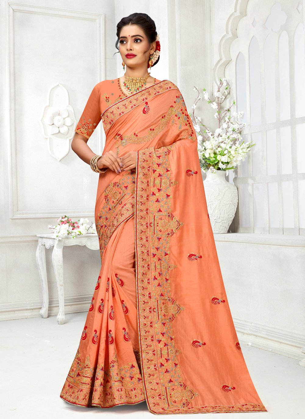 Peach Reception Silk Traditional Saree