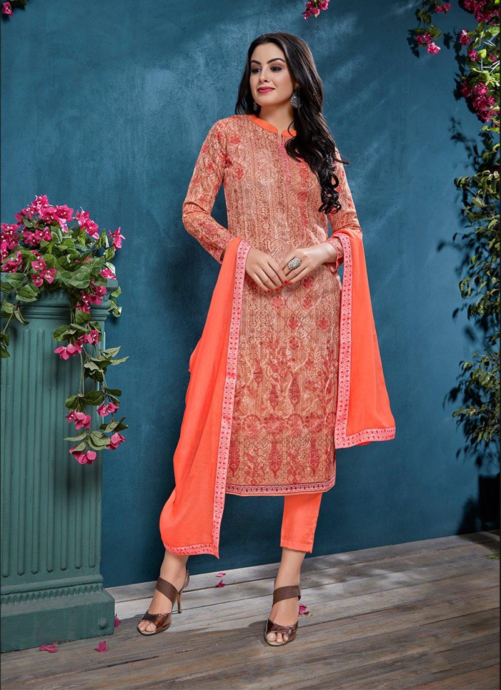 Peach Resham Churidar Designer Suit