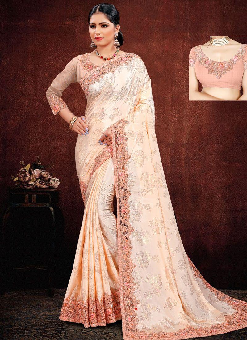 Peach Resham Classic Saree