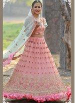 Peach Resham Net Designer A Line Lehenga Choli