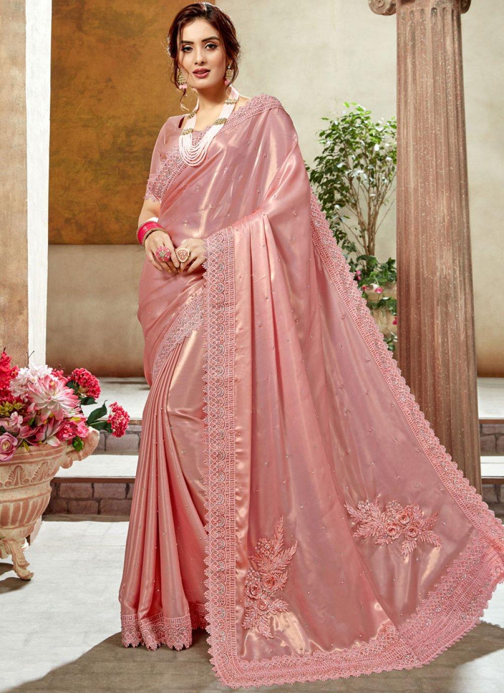 Peach Satin Silk Party Classic Designer Saree