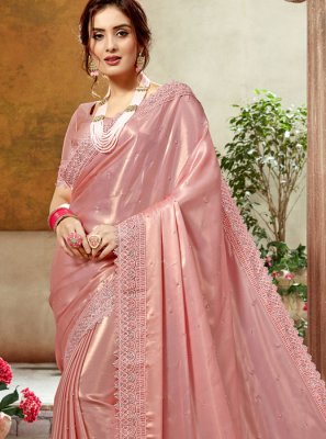 Peach Satin Silk Party Classic Designer Saree