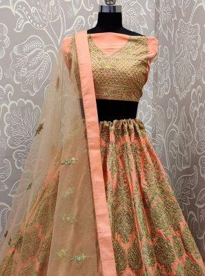 Peach Satin Silk Reception Trendy A Line Lehenga Choli