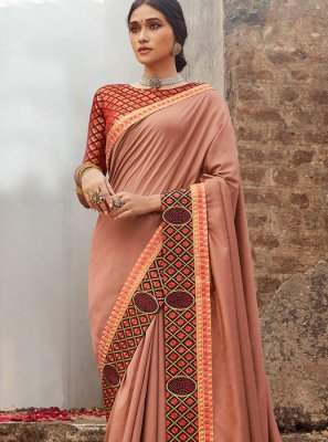 Peach Silk Border Designer Saree