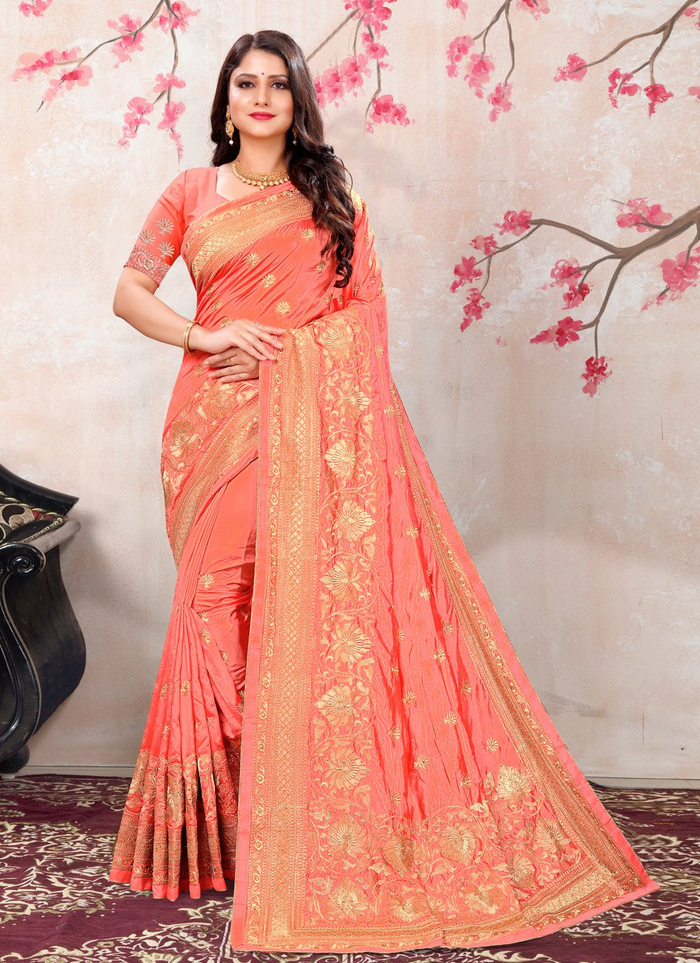 Peach Silk Contemporary Saree