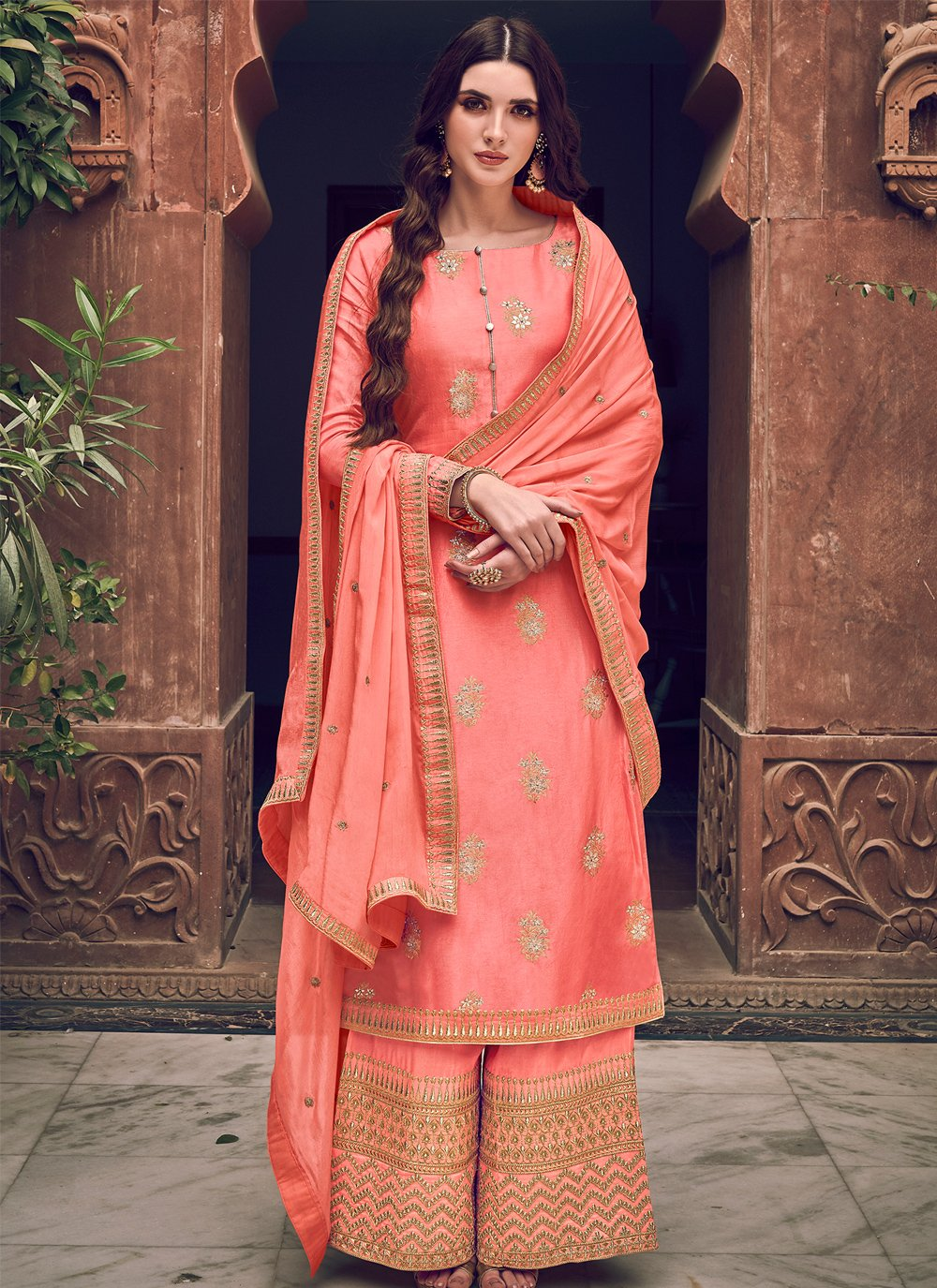 Peach Silk Embroidered Designer Palazzo Salwar Suit
