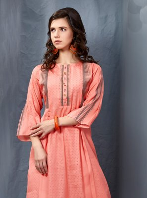 Peach Silk Festival Party Wear Kurti