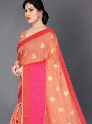 Peach Silk Silk Saree