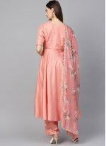 Peach Silk Thread Work Pant Style Suit