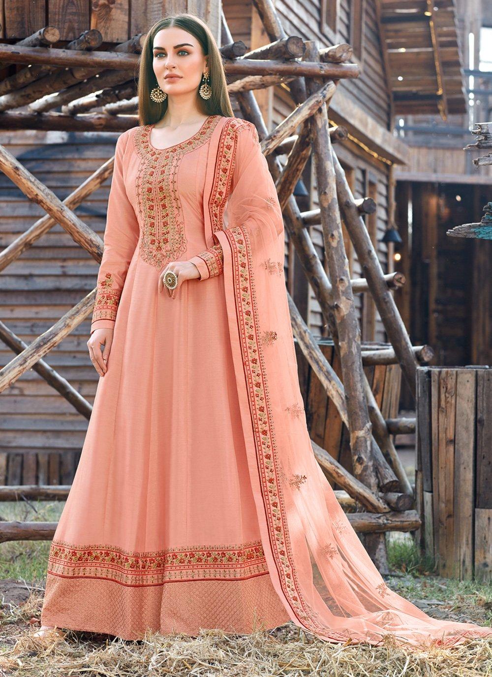 Peach Silk Trendy Anarkali Salwar Suit