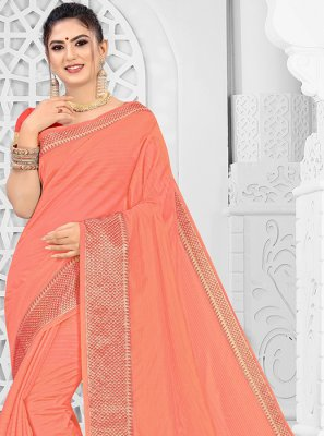 Peach Silk Trendy Saree